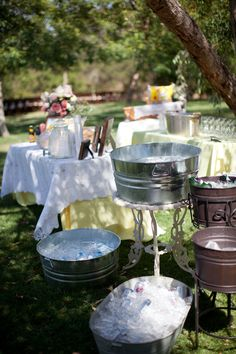 Rustic Vintage Shabby Chic Wedding Ideas - The silver tins would be fun to get creative with. Chic Wedding, Perfect Wedding, Wedding Styles, Rustic Wedding, Wedding Day, Farm Wedding, Drinks Wedding, Circus Wedding, Wedding Beach