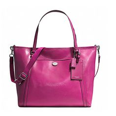 "Coach Peyton XL Saffiano Leather Tote Bag 77606 Raspberry. Extra large saffiano leather tote shoulder bag. Interior one zip pocket, two slip multi- function pockets. Fully lined with gold fabric. One leather hang tag and one leather luggage tag. Zip top closure. One open pocket on the back and one on front. Two shoulder straps with 9"" drop and one adjustable/removable 23"" strap for cross body wear. Approximate Size 18.5"" (L) X 14"" (H) X 5"" (W)."