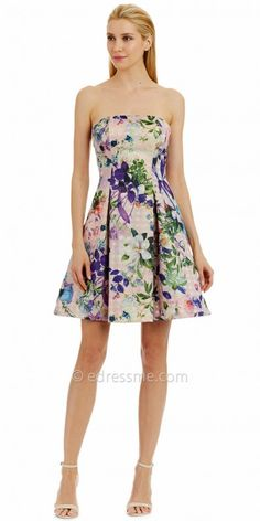 98c400ab3a2a Floral Print Strapless Jacquard Fit and Flare Cocktail Dress by Nicole  Miller New York