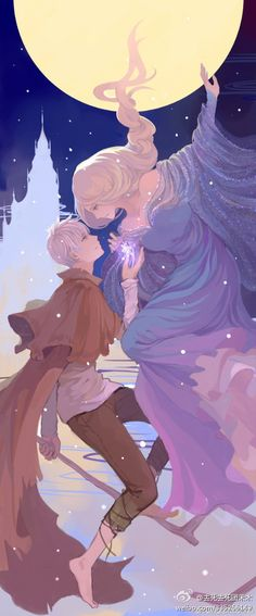 This is Disney and Dream Works not really anime but.....it's drawn in an Anime style. Jack Frost and Elsa.