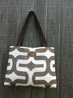 Handbag Purse Tote Bag in Brown and White with by DandelionHoney, $48.00