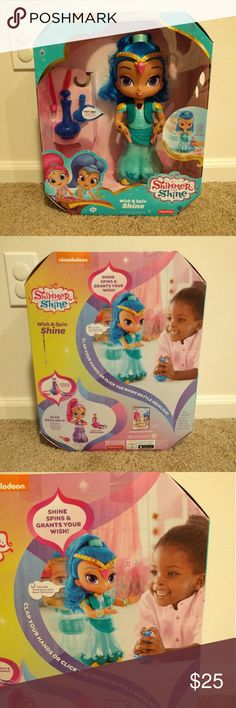 Shimmer And Shine Wish & Spin Shine Brand new  Clap your hand or press the genie bottle to magically call upon Shine. She talks, sings, and moves.  Shine claps and spins as she grants your wish Dance along to songs from the television show  Shine features soft hair and come with a bottle shaped hairbrush. Fisher Price Other