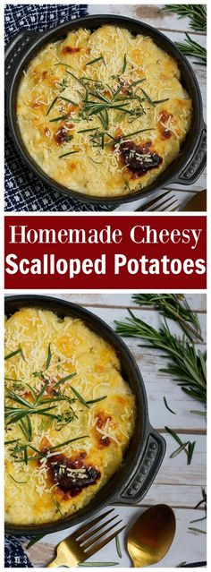 A perfect side dish for any occasion, this Homemade Cheesy Scalloped Potatoes is going to be showstopper! It's simple and full of flavor!