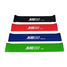 JKMEOO Exercise Resistance Loop Bands  Set of 4  Best Exercise Bands for Home Gym Yoga Fitness Stretching Workout and PhysicalTherapy >>> Check this awesome product by going to the link at the image. (Note:Amazon affiliate link)