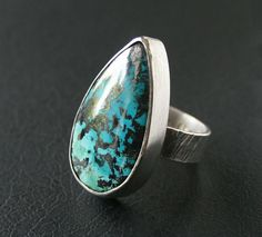Chrysocolla Ring in Sterling Silver - Large Cocktail Statement Ring. Modern Setting on Etsy, $115.00