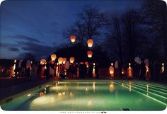 Letting off sky lanterns at wedding at Maison Talbooth Dedham Wedding Photography Essex - www.helloromance.co.uk