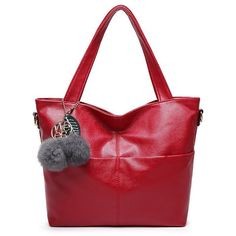 Pompons PU Leather Shouder Bag ($27) ❤ liked on Polyvore featuring bags, handbags, shoulder bags, red purse, red shoulder bag, pu leather handbag and red handbags