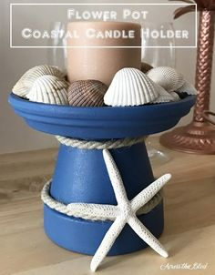 Coastal Candle Holder from a Terra Cotta Pot