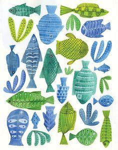 Lisa Congdon 2015 Fish Art Print 11 X 14 Limited Edition Sold Out Flora Und Fauna, Fish Design, Fish Art, Fish Fish, Aboriginal Art, Art And Illustration, Art Plastique, Art Sketchbook, Limited Edition Prints