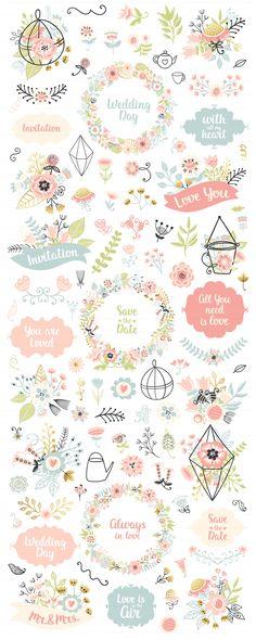 300 Wedding Floral Romantic Set by Qilli on @creativemarket