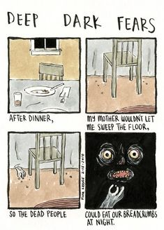 Deep Dark Fears by Fran Krause. Dark Comics, Short Comics, Creepy Stories, Horror Stories, Fear Book, Deep Dark Fears, Fear 3, Scary Facts, Dark Jokes
