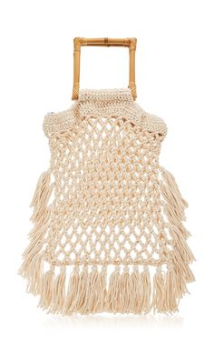 Narciso Fringed Macramé Handle Bag by Nannacay Womens Designer Bags, Vogue, Trends, Cross Body Handbags, Leather Shoulder Bag, Shoulder Strap, Purses And Handbags, Women Accessories, Boho
