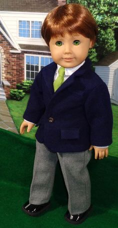 Your place to buy and sell all things handmade Boy Doll Clothes, Doll Clothes Patterns, Doll Patterns, American Boy Doll, American Girl Crafts, Blazer Outfits, Boy Outfits, Girl Dolls, Ag Dolls