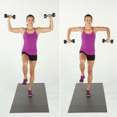 Stand on your left leg, and lift your right knee up until it is level with your hip. Holding a dumbbell in ...