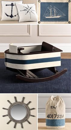 Nautical decor ad includes a child's blue and white wooden rocking ship. (I wouldn't mind having an adult-sized version of this...)