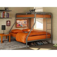 Twin over Full Bunk Beds Metal Bunkbeds Kids Teens Dorm Bedroom Furniture Metal Bunk Beds, Modern Bunk Beds, Full Bunk Beds, Bunk Beds With Stairs, Kids Bunk Beds, Bed Rails, Full Bed, Childrens Bedroom Furniture, Bed Furniture