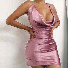 2016 New Sexy Women Red Party bodycon Dress Spaghetti Strap V-neck Satin Celebrity Cocktail Backless mini Dress Vestidos Satin Dresses, Tight Dresses, Club Dresses, Sexy Dresses, Plus Size Dresses, Fashion Dresses, Lux Fashion, Fashion Games, Dresses Dresses