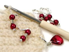 Removable Beaded Stitch Markers Crochet Row Markers by TJBdesigns Knitting Supplies, Cherry Red, Stitch Markers, Knit Crochet, Handmade Items, How To Remove, Diy Crafts, Beads, My Favorite Things