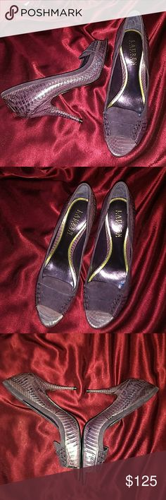 LAUREN RALPH LAUREN PURPLE SNAKESKIN HEELS 6 NEW! This is an absolutely stunning pair of Lauren Ralph Lauren purple snakeskin open toe pumps. Size 6. The heel is 4 inches tall. They are brand new. Lauren Ralph Lauren Shoes Heels