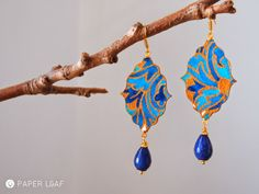 Porcelain Gold Persia | handpainted paper earrings with lapis beads | acrilyc paint on Canson cardstock | Paper Leaf