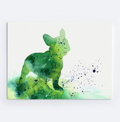 Items op Etsy die op French Bulldog Watercolor Print, Custom Dog Silhouette, Turquoise Childrens Wall Decor lijken