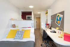 The space in this room is effectively used by thee arrangement of the furniture. The room also has a sufficient light and give a studious atmosphere for the users. Small Space Living, Tiny Living, Living Spaces, Student Room, Student House, Narrow Rooms, Small Rooms, University Dorms, Dormitory