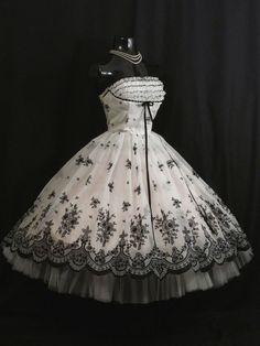Vintage 50's 50s Strapless White Black Chiffon Flocked Organza Party PROM DRESS