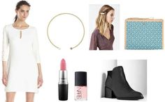 White dress, ankle boots, silver hair clip, blush pink nail polish, blue bag, pink lip, gold necklace