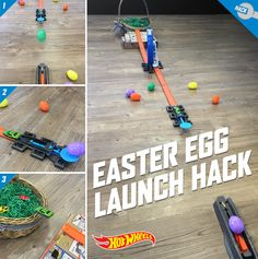 Add some competition to your kid's Easter party. Try using plastic eggs to amp up playtime with this DIY Easter basket hack using Hot Wheels launchers. Get inspired here.