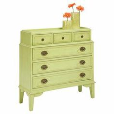 "Showcasing an eye-catching pistachio-hued finish and 6 drawers, this lovely chest is perfect for stowing extra linens in the guest room or work essentials in your home office.     Product: Chest   Color: Pistachio   Construction Material: Solid wood and engineered hardwood  Features:  Hand glazed patina with slightly rubbed edges  Wood-on-wood drawer glides   Six drawers   Dimensions: 36"" H x 37"" W x 13.25"" D"