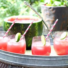 This Watermelon Punch recipe is a refreshing and delicious addition summer BBQs and get togethers! Nothing goes to waste because you turn the watermelon into a festive serving bowl!