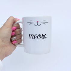 Meow Mug by SaraHynesDesigns on Etsy