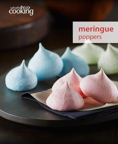JELL-O Meringue Poppers - - I wonder if we could modify this to make macarons that were less sweet No Bake Desserts, Just Desserts, Dessert Recipes, Yummy Treats, Sweet Treats, Yummy Food, Pavlova, Poppers Recipe, Meringue Cookies
