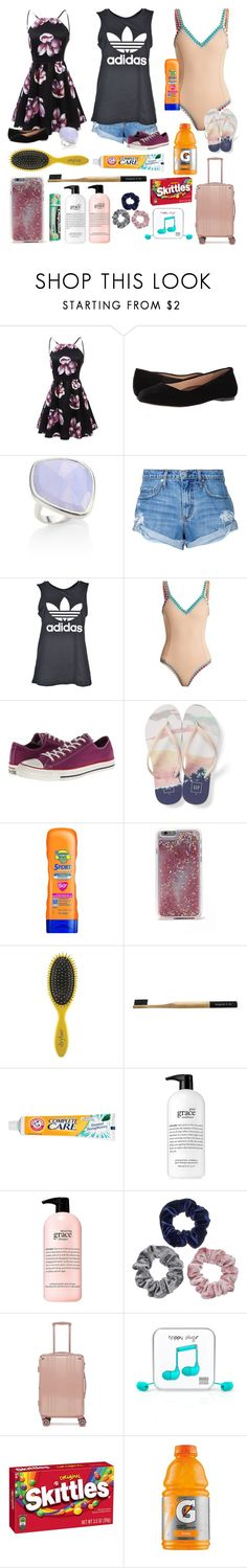 """""""☉Vacation☉"""" by loveandintelligence ❤ liked on Polyvore featuring Walking Cradles, Monica Vinader, Nobody Denim, adidas, kiini, Converse, Gap, Banana Boat, Agent 18 and Chapstick"""
