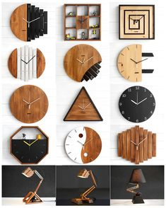 Paladim is a product design studio and a workshop. Browse our creative selection of handmade wooden desk lamps, wall clocks and desk accessories. Diy Projects For Adults, Diy Art Projects, Handmade Wall Clocks, Handmade Home Decor, Handmade Lamps, Handmade Furniture, Handmade Wooden, Wall Clock Design, Clock Wall