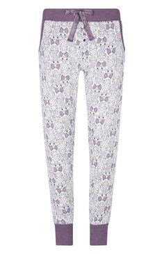 Legging de pyjama motif chouette violet