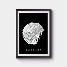 Barcelona Map, Spain Map, Europe Map, Black And White Map, Minimalistic Map, Minimal Map, Black Map, White Map,Minimalist Map by SomethingArtStudio on Etsy