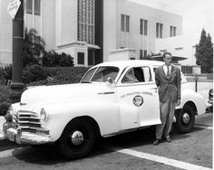 This air pollution control vehicle, parked outside Burbank City Hall, belonged to the county of Los Angeles, which created Los Angeles County Air Pollution Control District in 1947. The agency recorded emissions from large power plants, refineries, construction equipment, trains, and airplanes. In 1976, state legislation was passed to expand the agency, and the South Coast Air Quality Management District was born.  -- Burbank Historical Society. San Fernando Valley History Digital Library.