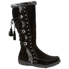 Bucco Noelas Womens Fashion Faux Fur Winter Boots ($40) ❤ liked on Polyvore featuring shoes, boots, wide width winter boots, black mid calf boots, calf length boots, black winter boots and wide boots