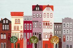 Brooklyn New York City Large Colorful Illustration Art Print. $30.00, via Etsy.