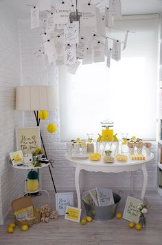 #baby-shower, #party-decor, #yellow  Photography: Macarena - www.macarenagea.com  Read More: http://www.stylemepretty.com/living/2014/07/28/sun-filled-baby-shower/