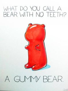 Haha. Get it! Guuummmyyy bear? Ya know, because it's gummy . . . and it's a bear. Why are you not laughing? This is hilarious, no?