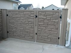 "SimTek EcoStone gate. Matching Simulated Stone Gates for All Colors. All Gates are Shipped Pre-Built and include all Heavy Duty Gate Hardware including Hinges, Latch, and Drop Rod for Double Gates. Simulated Stone Gate Sizes.  48""Wide & 72"" Wide, Double Gates up to 144"" Wide. Custom Gate Sizes are available upon request  @Wendy Felts Werley-Williams.vinylfenceanddeck.com"