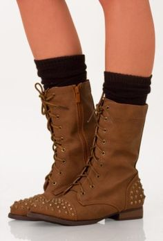 These boots were made for walking, sweetly studded combat boots