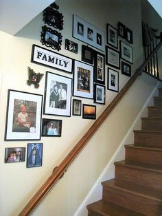 Family Gallery: Pictures hung following stair railing