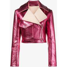 Sies Marjan Pink Metallic Cropped Lurex Biker Jacket (126.090 RUB) ❤ liked on Polyvore featuring outerwear, jackets, rider jacket, pink metallic jacket, cropped moto jacket, cropped biker jacket and cropped jacket
