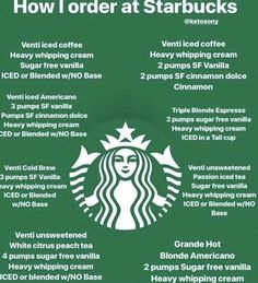 How to order at Starbucks. Here is a little cheat sheet, that will hopefully help you get your coffee drank on. These are drinks I've personally had myself. How to order at Starbucks. Here is a little cheat sheet, that will hopefully help you get your cof Starbucks Hacks, Starbucks Secret Menu Drinks, Starbucks Recipes, Coffee Recipes, Low Carb Drinks, Healthy Drinks, Healthy Eats, Diabetic Drinks, Healthy Weight