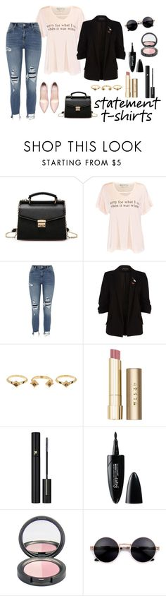 """""""Statement T-Shirt"""" by shosho-mahmmod ❤ liked on Polyvore featuring Wildfox, River Island, House of Harlow 1960, Stila, Lancôme, Maybelline, trending and statement"""