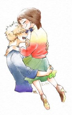 """""""花を抱く """" Wish I knew how to use watercolors! """" Sorry, This is a picture drawn in a clip studio. Bakugou And Uraraka, Buko No Hero Academia, Boku No Hero Academy, Pictures To Draw, Beautiful Artwork, Fun Crafts, Anime Art, Scenery, Instagram"""