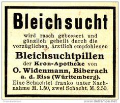 Original-Werbung/Anzeige 1910 - KRON APOTHEKE WIDENMANN - BIBERACH - ca. 45 x 40…